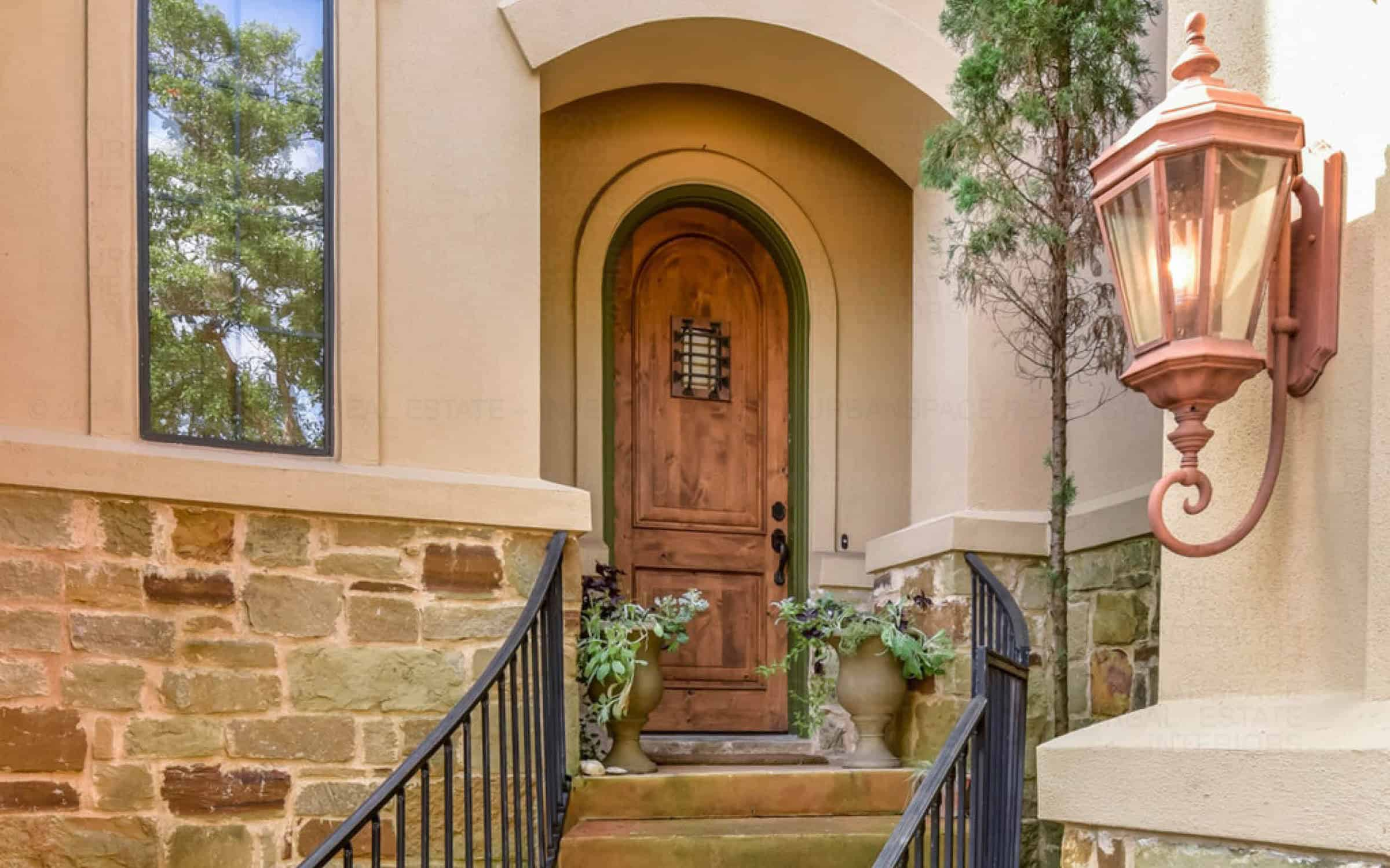 front door entrance stairs liberty park austin home